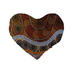 Aboriginal Traditional Pattern Standard 16  Premium Flano Heart Shape Cushions