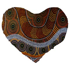 Aboriginal Traditional Pattern Large 19  Premium Flano Heart Shape Cushions