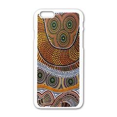Aboriginal Traditional Pattern Apple iPhone 6/6S White Enamel Case