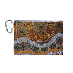 Aboriginal Traditional Pattern Canvas Cosmetic Bag (M)