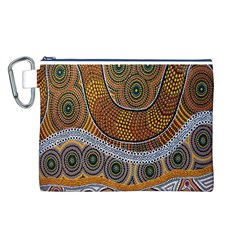 Aboriginal Traditional Pattern Canvas Cosmetic Bag (L)