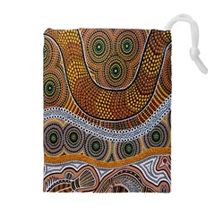Aboriginal Traditional Pattern Drawstring Pouches (Extra Large)