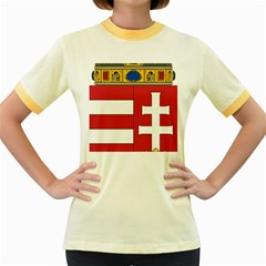 Coat of Arms of Hungary Women s Fitted Ringer T-Shirts