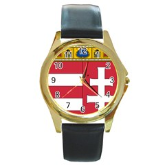 Coat of Arms of Hungary  Round Gold Metal Watch