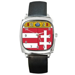 Coat of Arms of Hungary  Square Metal Watch