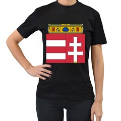 Coat of Arms of Hungary  Women s T-Shirt (Black) (Two Sided)