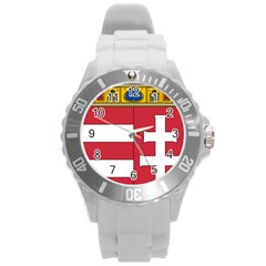 Coat of Arms of Hungary  Round Plastic Sport Watch (L)