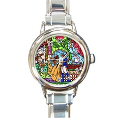Happily Ever After 1   Beauty And The Beast Round Italian Charm Watch