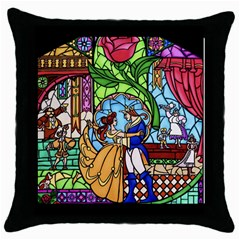 Happily Ever After 1 - Beauty and the Beast  Black Throw Pillow Case
