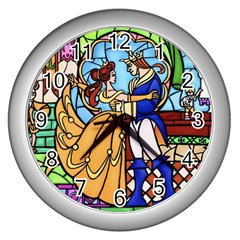 Happily Ever After 1 - Beauty and the Beast  Wall Clock (Silver)