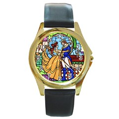 Happily Ever After 1   Beauty And The Beast Round Gold Metal Watch