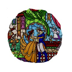 Happily Ever After 1   Beauty And The Beast Standard 15  Premium Round Cushions
