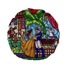 Happily Ever After 1   Beauty And The Beast Standard 15  Premium Flano Round Cushions