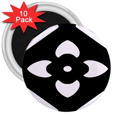 Black And White Pattern Background 3  Magnets (10 pack)