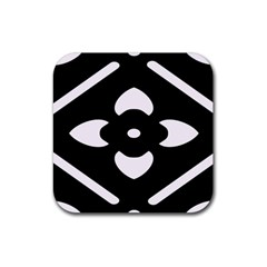 Black And White Pattern Background Rubber Coaster (square)