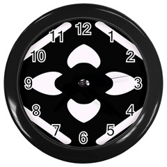 Black And White Pattern Background Wall Clocks (Black)