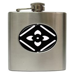 Black And White Pattern Background Hip Flask (6 oz)