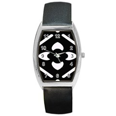 Black And White Pattern Background Barrel Style Metal Watch