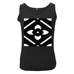 Black And White Pattern Background Women s Black Tank Top