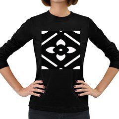 Black And White Pattern Background Women s Long Sleeve Dark T-Shirts