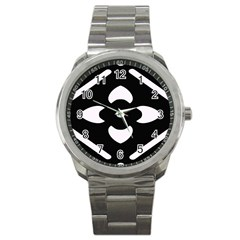 Black And White Pattern Background Sport Metal Watch