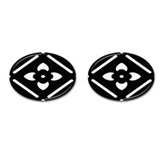 Black And White Pattern Background Cufflinks (Oval)