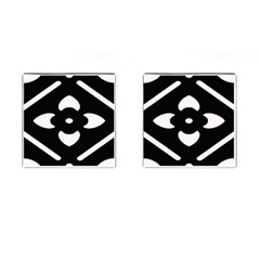 Black And White Pattern Background Cufflinks (Square)