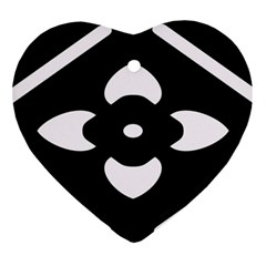 Black And White Pattern Background Heart Ornament (two Sides)