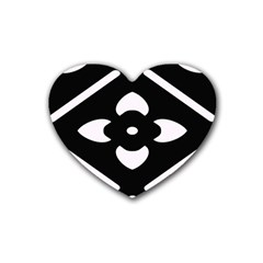 Black And White Pattern Background Rubber Coaster (Heart)