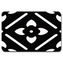 Black And White Pattern Background Large Doormat