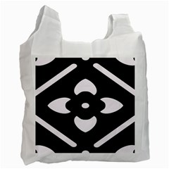 Black And White Pattern Background Recycle Bag (Two Side)