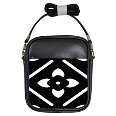 Black And White Pattern Background Girls Sling Bags