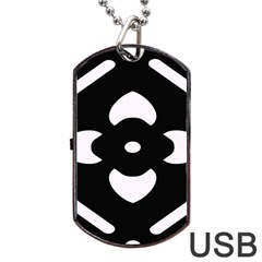 Black And White Pattern Background Dog Tag USB Flash (Two Sides)