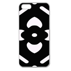 Black And White Pattern Background Apple Seamless Iphone 5 Case (clear)