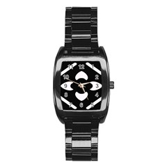 Black And White Pattern Background Stainless Steel Barrel Watch
