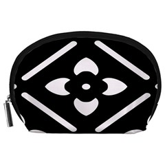 Black And White Pattern Background Accessory Pouches (large)