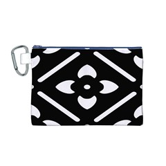 Black And White Pattern Background Canvas Cosmetic Bag (M)