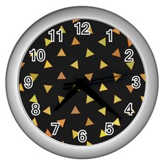 Shapes Abstract Triangles Pattern Wall Clocks (silver)