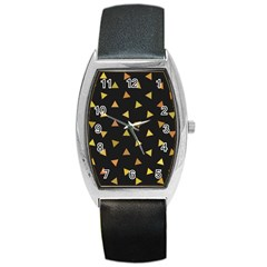 Shapes Abstract Triangles Pattern Barrel Style Metal Watch