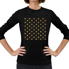 Shapes Abstract Triangles Pattern Women s Long Sleeve Dark T-Shirts