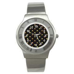 Shapes Abstract Triangles Pattern Stainless Steel Watch