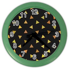 Shapes Abstract Triangles Pattern Color Wall Clocks
