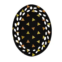Shapes Abstract Triangles Pattern Oval Filigree Ornament (two Sides)