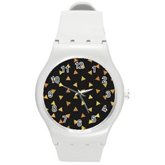 Shapes Abstract Triangles Pattern Round Plastic Sport Watch (m)