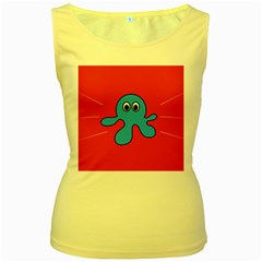 Creature Forms Funny Monster Comic Women s Yellow Tank Top