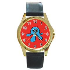 Creature Forms Funny Monster Comic Round Gold Metal Watch