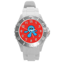 Creature Forms Funny Monster Comic Round Plastic Sport Watch (L)