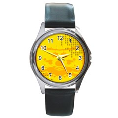Texture Yellow Abstract Background Round Metal Watch
