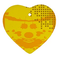 Texture Yellow Abstract Background Ornament (Heart)