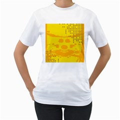Texture Yellow Abstract Background Women s T-Shirt (White) (Two Sided)